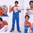 Collage of a man holding wallpaper rolls — Stock Photo