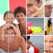 Mosaic of family holiday at seaside — Foto de stock #8032852