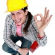 Stock Photo: Craftswommaking okay sign
