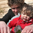 Man and little boy gardening — Stock Photo