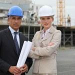 Portrait of two contractors — Stock Photo