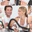 Collage of happy man and woman on a cross trainer - 图库照片