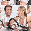 Collage of happy man and woman on a cross trainer - Stok fotoraf