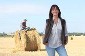 Farmers in a field — Stock Photo