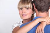 Closeup of a couple hugging — Stock Photo