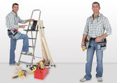 Duo of twin carpenters at work — Stock Photo