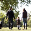 Family walking their dog — Stock Photo
