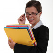 A businesswoman with a big folder. — Stock Photo