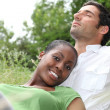 Stock Photo: Portrait of a couple on the grass
