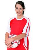 Girl soccer player — Stock Photo