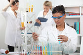 Women conducting an experiment — Stock Photo