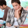 Two students hard at work — Stock Photo