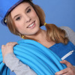 Portrait of a female plumber — Stock Photo