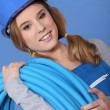 Portrait of female plumber — Stock Photo #8052716