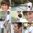 Collage of man with little boy fishing — Stock Photo #8052732