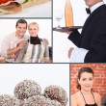 colagem com temática de restaurante — Foto Stock
