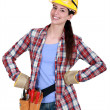 Happy female woodworker — Stock Photo #8053469