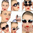Women choosing sunglasses - Stockfoto
