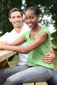 Portrait of happy mixed couple — Stock Photo