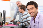 Men in computing training — Stock Photo