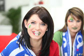 Two female Italian soccer supporters — Stock Photo