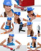 Photomontage of handywoman — Stock Photo
