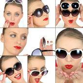 Women choosing sunglasses — Stock Photo