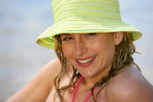 Blond woman at the beach — Stock Photo