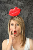 Young woman with pulpy lips — Stock Photo