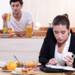 Young active couple having breakfast — Stock Photo #8060177
