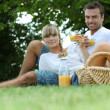 Couple drinking orange juice in a park — Stock Photo