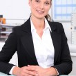 Smart female accountant sitting at her desk - Foto Stock