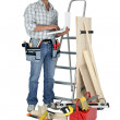 Carpenter stood with laptop — Stock Photo #8065127