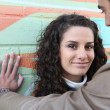 Stock Photo: Flirtatious couple stood by wall