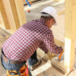 Stock Photo: Carpenter doing doorway.