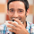 Ma with a bowl of coffee — Stock Photo