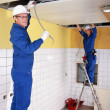 Stock Photo: Two electricians working on ceiling