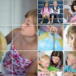 Collage of kids doing homework — Foto de Stock