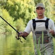 Stock Photo: Man fishing in river