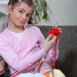 Stockfoto: Girl knitting