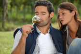 Couple tasting wine in field — Foto Stock