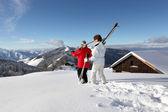 在雪景中的高级夫妇 — 图库照片