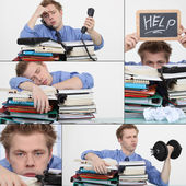 Man overwhelmed at work — Stock Photo