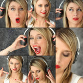 Blonde with red lipstick and headset striking poses — Stock Photo