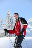 Smiling male skier — Stock Photo