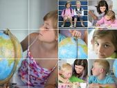 Collage of kids doing homework — Stock Photo