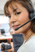 Woman in call center — Stock Photo
