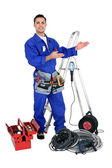 Well equipped young craftsman — Stock Photo