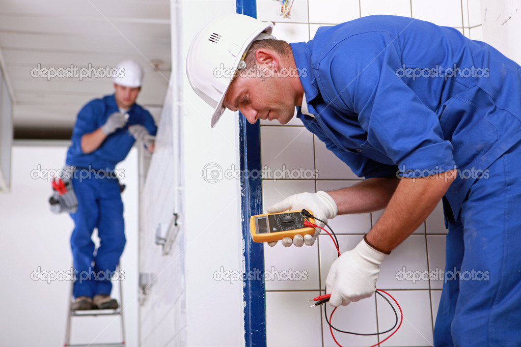 Two electrical inspectors on work site — Stock Photo #8065012