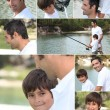 Collage of man fishing with little boy — Stock Photo #8070016